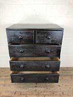 Ebonised Mahogany Two Part Campaign Style Chest of Drawers (6 of 12)
