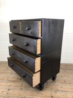Ebonised Mahogany Two Part Campaign Style Chest of Drawers (10 of 12)