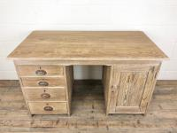Antique Pitch Pine Kneehole Writing Desk (2 of 9)