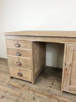 Antique Pitch Pine Kneehole Writing Desk (4 of 9)