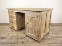 Antique Pitch Pine Kneehole Writing Desk (7 of 9)