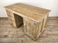 Antique Pitch Pine Kneehole Writing Desk (8 of 9)