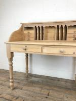 Vintage Stripped Pine Desk with Drawers (3 of 10)