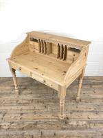 Vintage Stripped Pine Desk with Drawers (7 of 10)