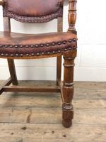 Antique Oak & Leather Studded Armchair (4 of 10)