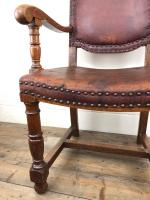 Antique Oak & Leather Studded Armchair (5 of 10)