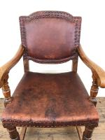 Antique Oak & Leather Studded Armchair (6 of 10)