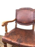 Antique Oak & Leather Studded Armchair (7 of 10)