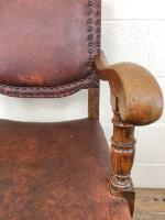 Antique Oak & Leather Studded Armchair (8 of 10)