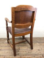 Antique Oak & Leather Studded Armchair (10 of 10)