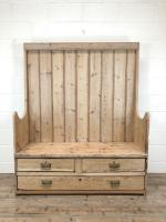 Rustic Antique Pine High Back Tavern Settle (13 of 13)