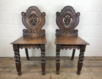 Pair of Antique Carved Oak Hall Chairs (2 of 11)