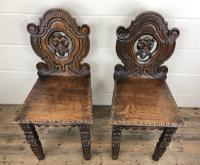 Pair of Antique Carved Oak Hall Chairs (3 of 11)