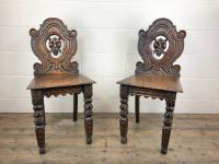 Pair of Antique Carved Oak Hall Chairs (4 of 11)