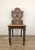 Pair of Antique Carved Oak Hall Chairs (5 of 11)