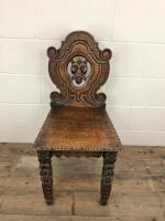 Pair of Antique Carved Oak Hall Chairs (6 of 11)