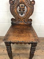 Pair of Antique Carved Oak Hall Chairs (8 of 11)