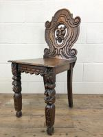 Pair of Antique Carved Oak Hall Chairs (10 of 11)
