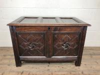 Antique 18th Century Welsh Oak Coffer with Carved Front (2 of 12)