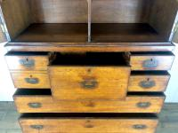 Antique 19th Century Oak Campaign Chest with Cupboard (8 of 17)