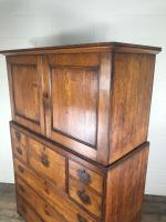 Antique 19th Century Oak Campaign Chest with Cupboard (12 of 17)