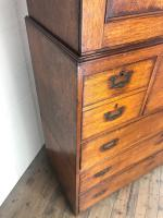 Antique 19th Century Oak Campaign Chest with Cupboard (14 of 17)