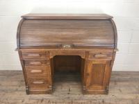 Early 20th Century Antique Oak Roll Top Desk (2 of 23)