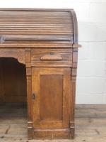 Early 20th Century Antique Oak Roll Top Desk (4 of 23)