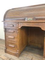 Early 20th Century Antique Oak Roll Top Desk (5 of 23)
