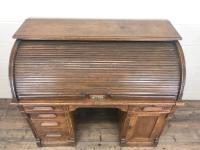 Early 20th Century Antique Oak Roll Top Desk (6 of 23)