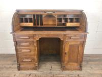 Early 20th Century Antique Oak Roll Top Desk (7 of 23)