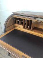 Early 20th Century Antique Oak Roll Top Desk (10 of 23)