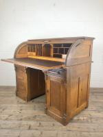 Early 20th Century Antique Oak Roll Top Desk (20 of 23)
