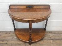 Early 20th Century Antique Oak Demi Lune Console Table (3 of 10)