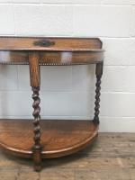Early 20th Century Antique Oak Demi Lune Console Table (5 of 10)
