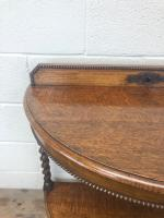 Early 20th Century Antique Oak Demi Lune Console Table (7 of 10)