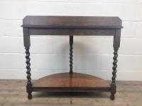 Early 20th Century Antique Oak Demi Lune Console Table (10 of 10)