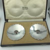 Pair of Omar Ramsden Silver & Enamel Dishes in Original Box London 1935