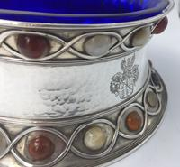 Stunning Large Arts & Craft Silver Bowl Set with Agate Cabochons Fox 1901 (6 of 7)