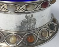 Stunning Large Arts & Craft Silver Bowl Set with Agate Cabochons Fox 1901 (7 of 7)