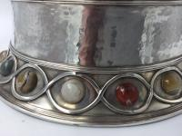 Stunning Large Arts & Craft Silver Bowl Set with Agate Cabochons Fox 1901 (3 of 7)