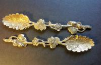 Pair of Silver Gilt Cast Naturalistic Spoons Joseph Angell 1838