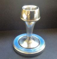 Silver Enamel Guilloche Boudoir Candlestick Birmingham 1928