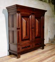 A Late 17th Century Dutch Oak and Rosewood Cupboard Kast Armoire