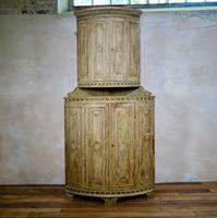 Exceptional 18th Century Swedish Original Painted Corner Cupboard Cabinet