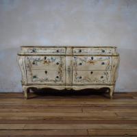 19th Century Italian Venetian Painted Bombe Sideboard - Commode