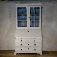 18th Century Painted Gustavian Swedish Bureaux Glazed Bookcase - White