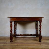 18th Century North Italian Fruitwood Side Table with Drawer Turned Legs