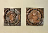 Pair of Folk-Art Breton Carved Plaques  with Free U K Delivery