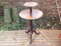 Rare Solid Mahogany Georgian Two Tier Tripod Table, Lazy Susan Wine Table